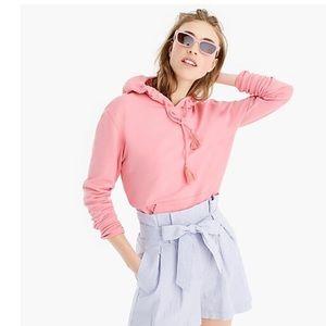 J Crew Tassel Hoodie Sweatshirt Pink Garment dyed